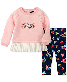 Tommy Hilfiger Baby Girls 2-Pc. Quilted Peplum Tunic & Floral-Print Leggings Set