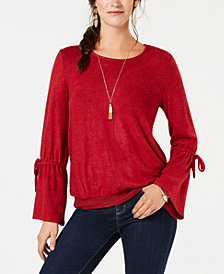 Style & Co Tie-Sleeve Top, Created for Macy's