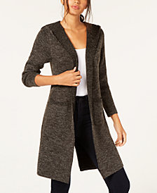 Monteau Petite Open-Front Hooded Cardigan