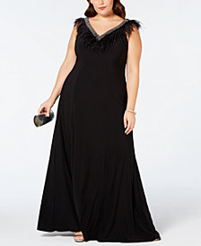 Adrianna Papell Plus Size Beaded Ostrich-Feather Evening Gown
