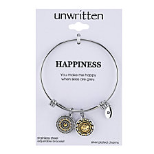 "Unwritten Two-Tone Crystal Accented ""You Make Me Happy"" Sun Charm Adjustable Bangle Bracelet in Stainless Steel"