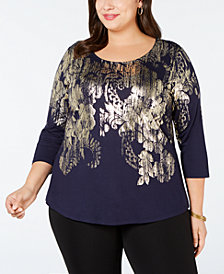 JM Collection Plus Size Metallic-Print Top, Created for Macy's