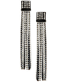 DKNY Black-Tone Crystal Tassel Drop Earrings, Created for Macy's