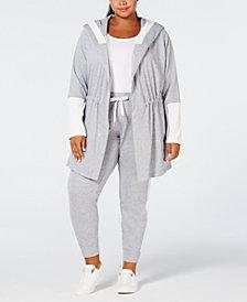 Calvin Klein Performance Plus Size Velour-Trim Hoodie