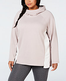 Calvin Klein Performance Plus Size Velour-Trimmed Cowl-Neck Hoodie
