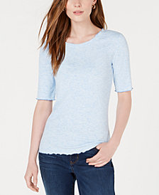 Maison Jules Lettuce Edge Knit Top, Created for Macy's