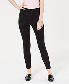 Maison Jules Flocked Dotted Skinny Pants, Created for Macy's