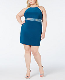 Morgan & Company Plus Size Illusion-Mesh Beaded Dress
