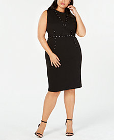 RACHEL Rachel Roy Trendy Plus Size Grommet-Trim Dress