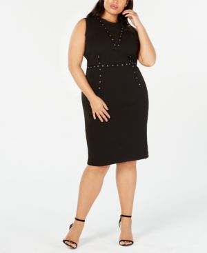 RACHEL RACHEL ROY Trendy Plus Size Grommet-Trim Dress in Black