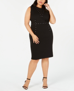 Rachel Rachel Roy TRENDY PLUS SIZE GROMMET-TRIM DRESS