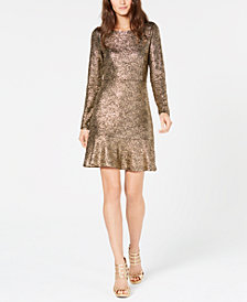 MICHAEL Michael Kors Flounce-Hem Foil Dress, in Regular and Petite Sizes