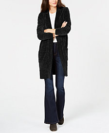 MICHAEL Michael Kors Velour Long Cardigan, in Regular and Petite Sizes