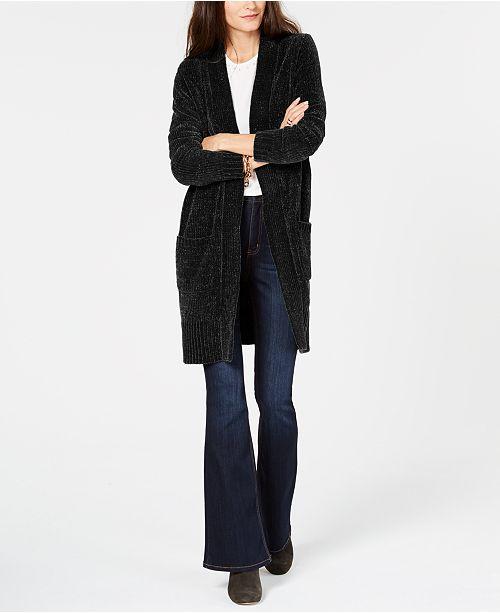 Michael Kors Velour Long Cardigan In Regular And Petite Sizes