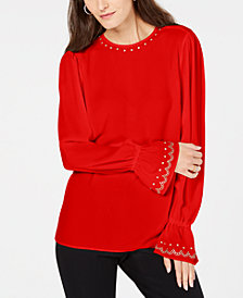 MICHAEL Michael Kors Studded Bell-Sleeve Top, In Regular & Petite Sizes