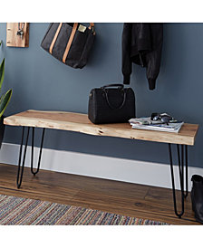 "Hairpin Natural Live Edge Wood With Metal 48"" Bench"