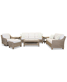Willough Outdoor 7-Pc. Set (1 Sofa, 1 Loveseat, 1 Swivel Glider, 1 Coffee Table, 2 End Tables & 1 Ottoman), Created for Macy's