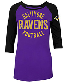 5th & Ocean Women's Baltimore Ravens Colorblocked Raglan T-Shirt