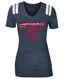 Women's Cleveland Indians Shoulder Stripe Foil T-Shirt