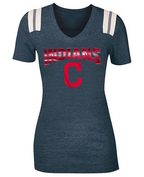 5th & Ocean Women's Cleveland Indians Shoulder Stripe Foil T-Shirt