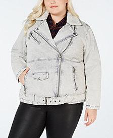 Levi's Plus Size Faux Sherpa-Lined Twill Moto Jacket