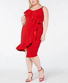 Love Squared Plus Size Asymmetrical-Ruffle Midi Dress