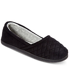 Dearfoams Quilted Microfiber Velour Slippers