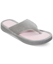 Colorblocked Microfiber Terry Thong Slippers, Online Only