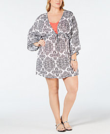 Dotti Plus Size Positano Printed Tunic Cover-Up