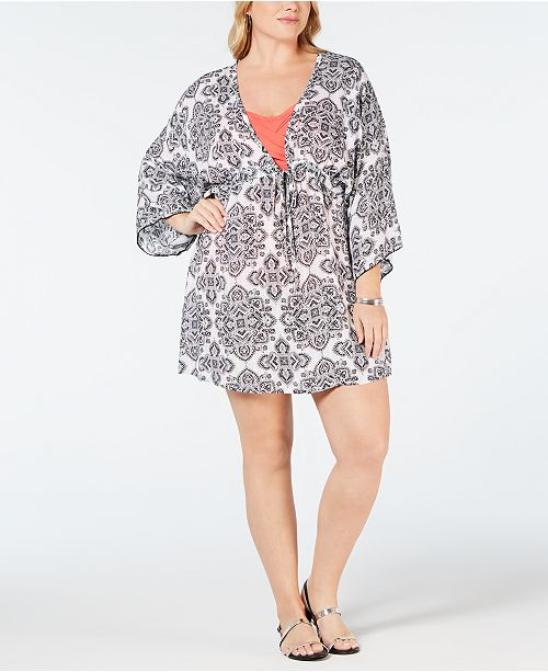 919a0d6ed564d Dotti Plus Size Positano Printed Tunic Cover-Up & Reviews - Swimwear ...