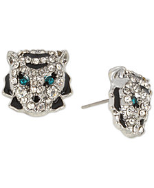 Betsey Johnson Hematite-Tone Crystal Tiger Stud Earrings