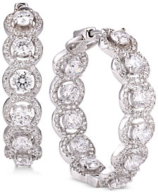 Tiara Cubic Zirconia Halo In & Out Hoop Earrings in Sterling Silver