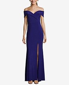 XSCAPE Petite Off-The-Shoulder Evening Gown