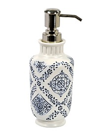John Robshaw Lakki Stamped Porcelain  Lotion Pump