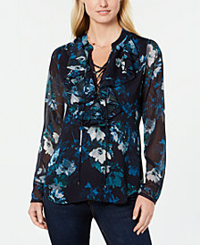 Tommy Hilfiger Sheer Lace-Up Ruffle Shirt, Created for Macy's