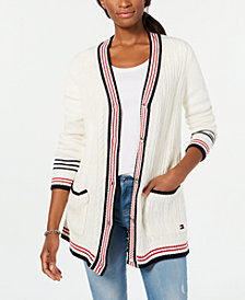 Tommy Hilfiger Striped-Trim Mixed-Knit Cardigan, Created for Macy's