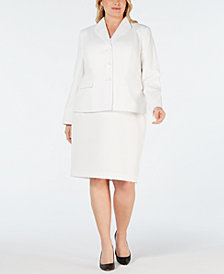 Le Suit Plus Size 3-Button Textured Skirt Suit