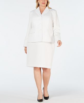 Le Suit Plus Size 3 Button Textured Skirt Suit Wear To Work