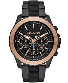 Michael Kors Men's Chronograph Theroux Black Stainless Steel & Silicone Bracelet Watch 44.5mm