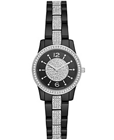 Women's Runway Black Stainless Steel with Crystal Accents Bracelet Watch 28mm