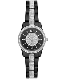 Michael Kors Women's Runway Black Stainless Steel with Crystal Accents Bracelet Watch 28mm