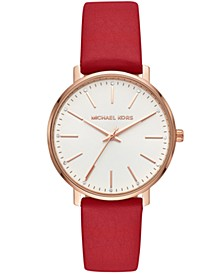 Women's Pyper Red Leather Strap Watch 38mm