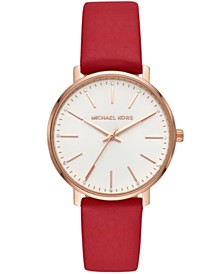 Michael Kors Women's Pyper Red Leather Strap Watch 38mm