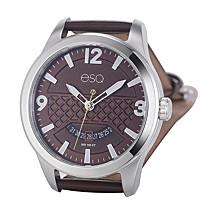 Men's Stainless Steel Watch, Brown Dial, Date Window