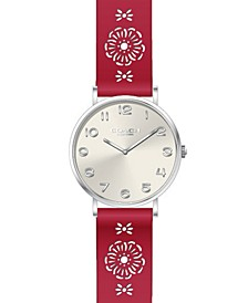 Women's Perry Red Leather Cutout Strap Watch 36mm Created for Macy's