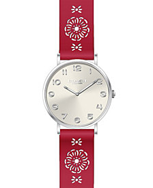 COACH Women's Perry Red Leather Cutout Strap Watch 36mm