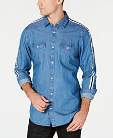 I.N.C. Men's Side Stripe Chambray Shirt, Created for Macy's