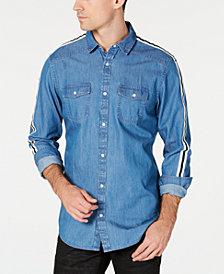 I.N.C. Men's Side Stripe Chambray Shirt, Created for Macy's