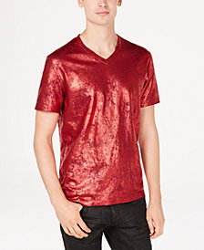 I.N.C. Men's Metallic Foil Print V-Neck T-Shirt, Created for Macy's
