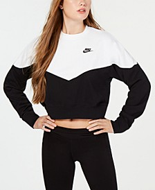 Fleece Colorblocked Cropped Sweatshirt